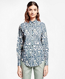 Botanical-Print Cotton Poplin Shirt