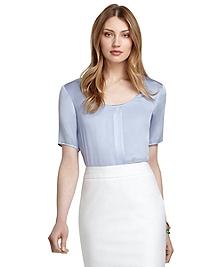 Short-Sleeve Silk Blouse