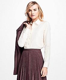 Scalloped Cotton Dobby Dress Shirt