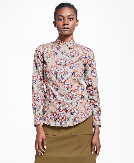 Tailored-Fit Floral Cotton Sateen Blouse