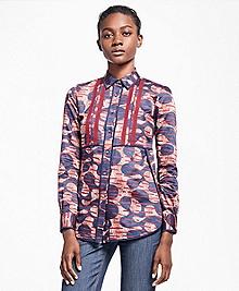 Abstract Tribal Cotton Sateen Dress Shirt