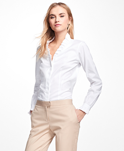 Non-Iron Ruffle Pinpoint Oxford Dress Shirt