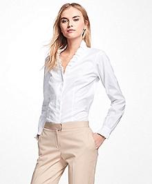 Non-Iron Ruffle Pinpoint Oxford Dress Shirt