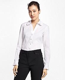 Cotton-Blend Ruffle Dress Shirt
