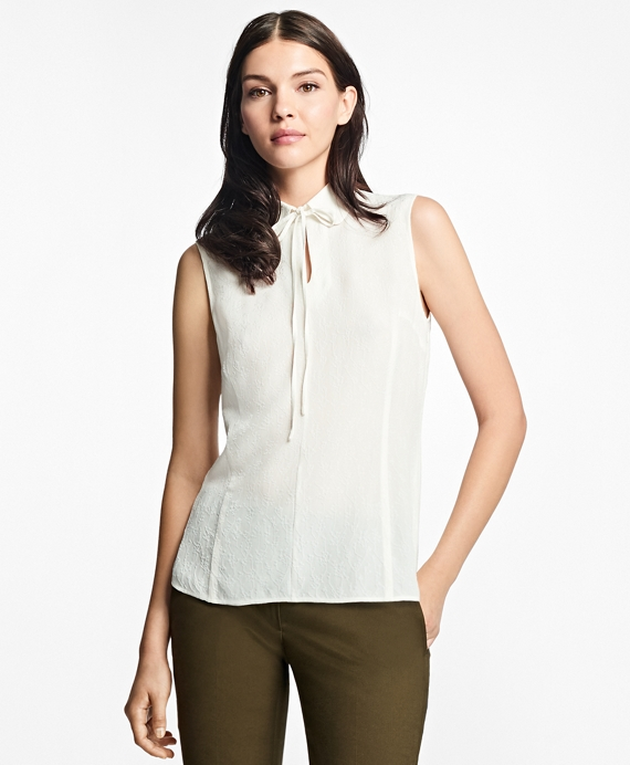Silk-Blend Tie-Neck Blouse White