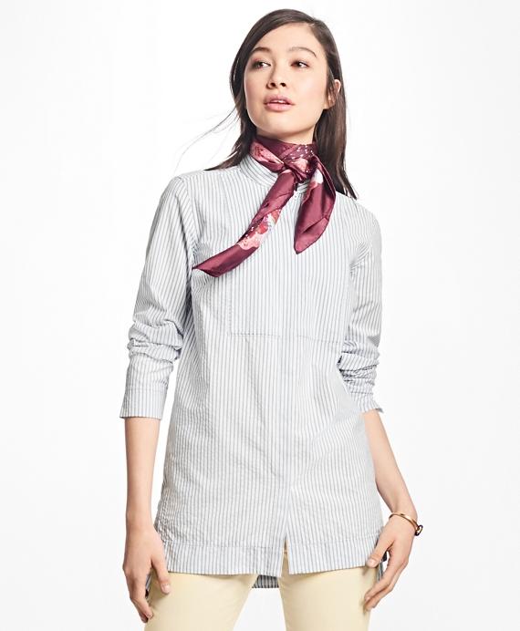 Striped Cotton Seersucker Tunic Blue