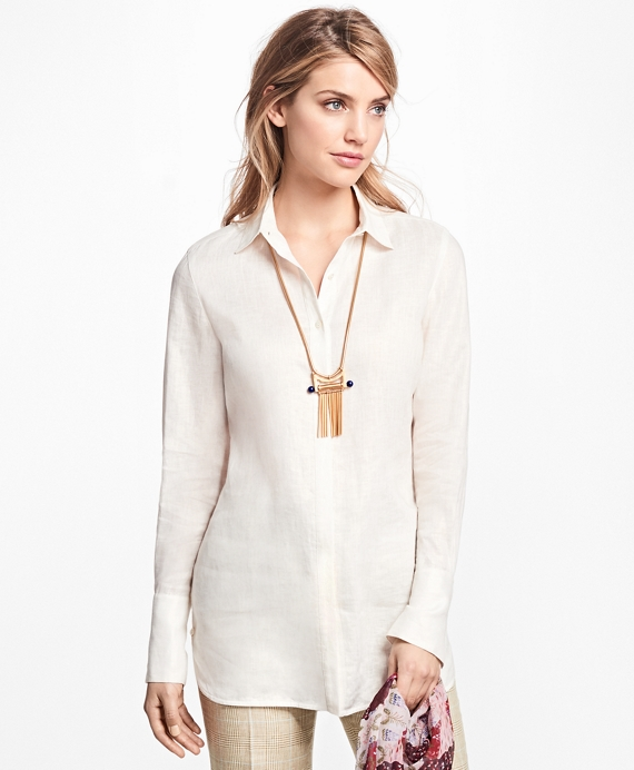 Linen Button-Front Tunic Ivory
