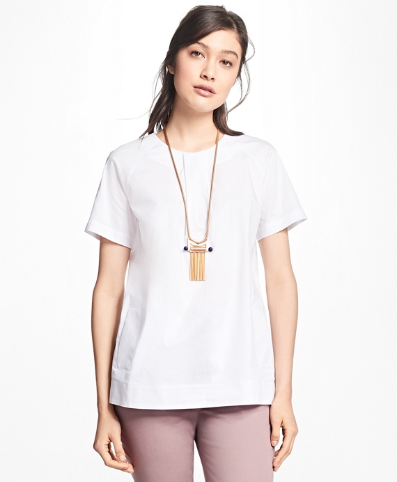 Stretch-Cotton Raglan Popover Top White