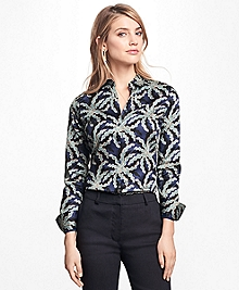 Fitted Palm Tree Print Cotton Sateen Shirt