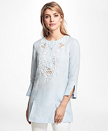 Cord-Embroidered Linen Tunic