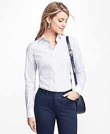 Tailored-Fit Stripe Stretch-Cotton Poplin Blouse