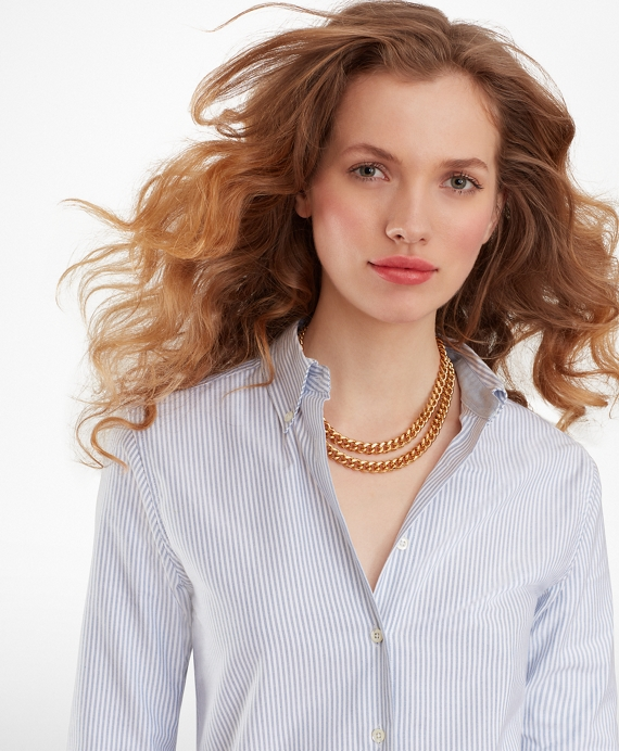 Classic-Fit Supima® Cotton Oxford Stripe Button-Down Shirt Blue