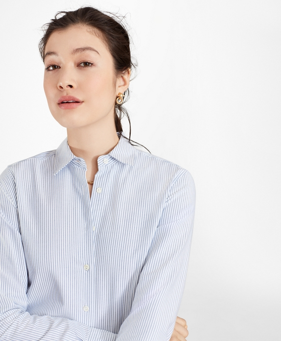 Classic-Fit Supima® Cotton Oxford Stripe Forward-Point Shirt Blue
