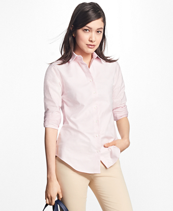 Classic-Fit Supima® Cotton Oxford Stripe Forward-Point Shirt