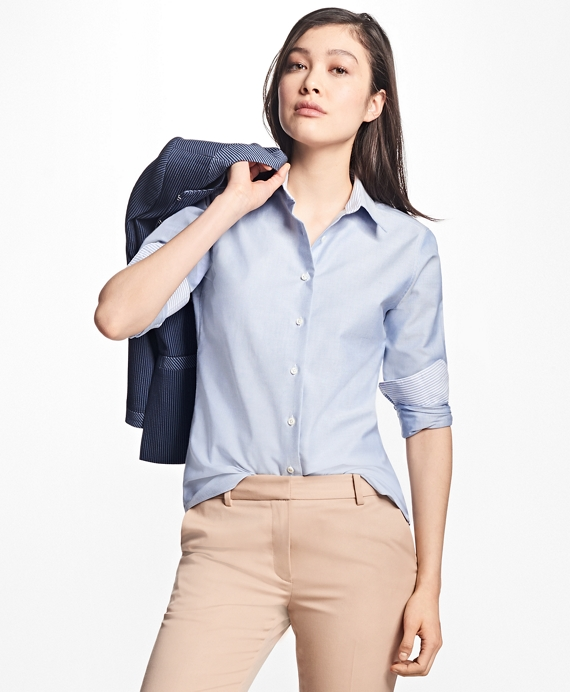 Classic-Fit Supima® Cotton Oxford Forward-Point Shirt Blue