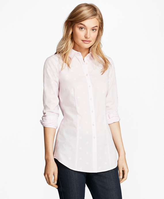 Cotton Jacquard Tailored-Fit Shirt Pink