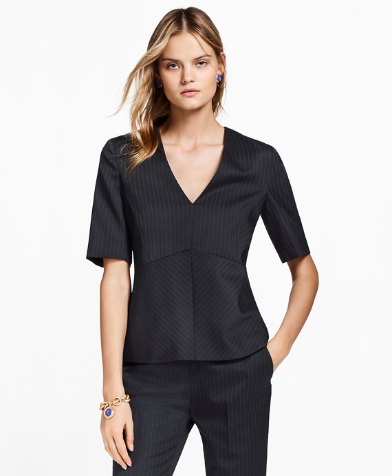 Pinstripe Stretch-Wool Peplum Top Navy