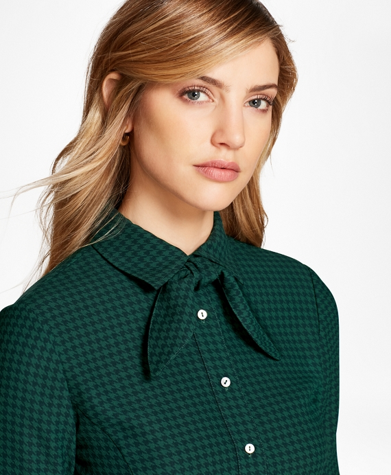 Houndstooth Crepe Blouse Green-Blue