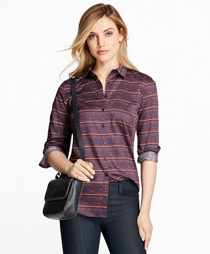 Ribbon-Print Cotton Sateen Fitted Shirt