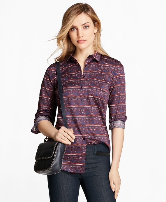 Ribbon-Print Cotton Sateen Fitted Shirt Blue-Multi