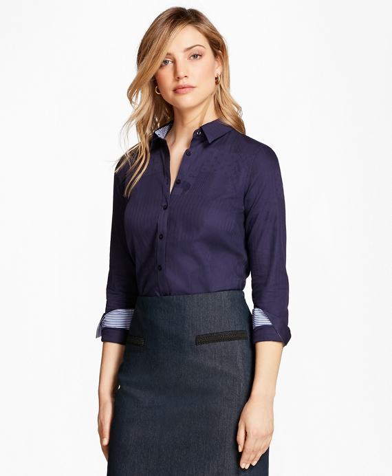 Tailored-Fit Patchwork Jacquard Shirt Navy