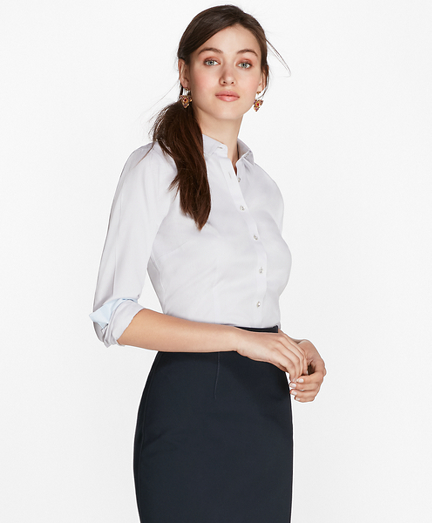 Non-Iron Tailored-Fit Chevron Dobby Cotton Poplin Shirt