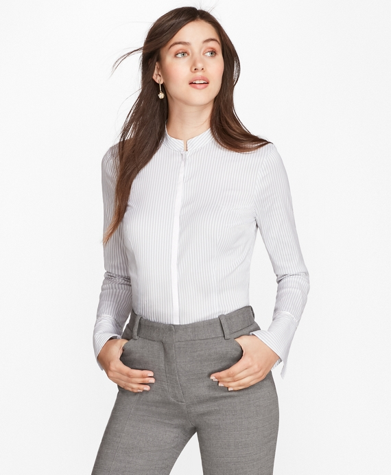 Bell-Sleeve Striped Shirt Grey-White