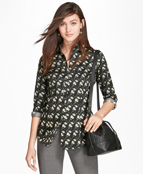 Tailored-Fit Snow Blossom-Print Cotton Sateen Shirt Black-Multi