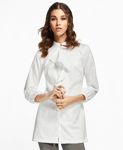 Ruffle-Neck Cotton Jacquard Tunic