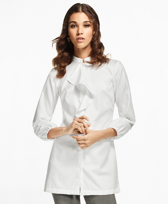 Ruffle-Neck Cotton Jacquard Tunic White