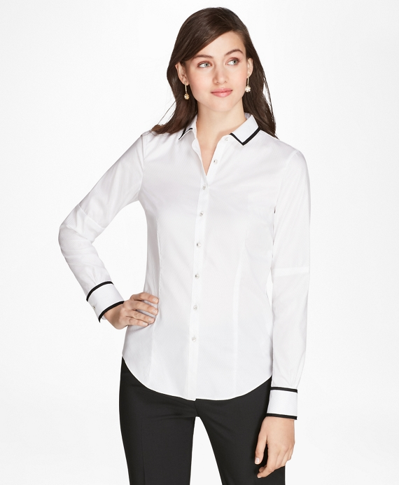 Tailored-Fit Grosgrain-Trimmed Striped Supima® Cotton Jacquard Shirt White