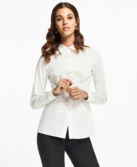 Stretch Cotton Peplum Shirt by Brooks Brothers