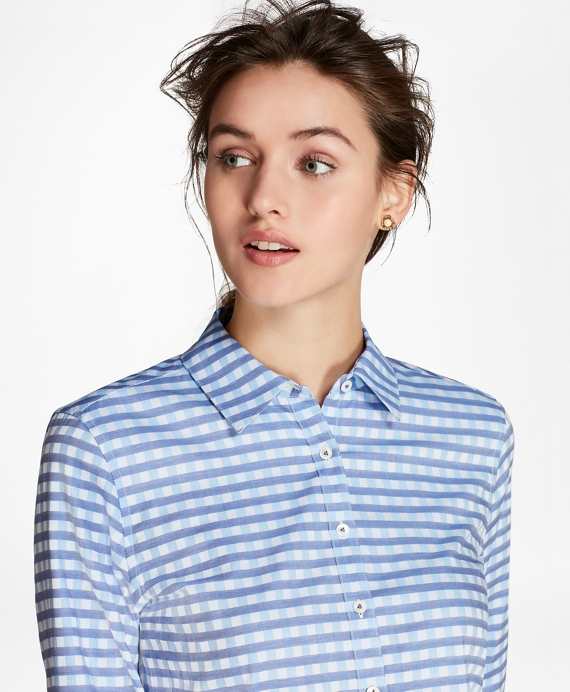 Gingham Dobby Cotton Shirt Blue