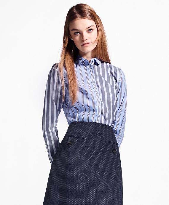 Non-Iron Tailored-Fit Striped Stretch-Cotton Fun Shirt Blue