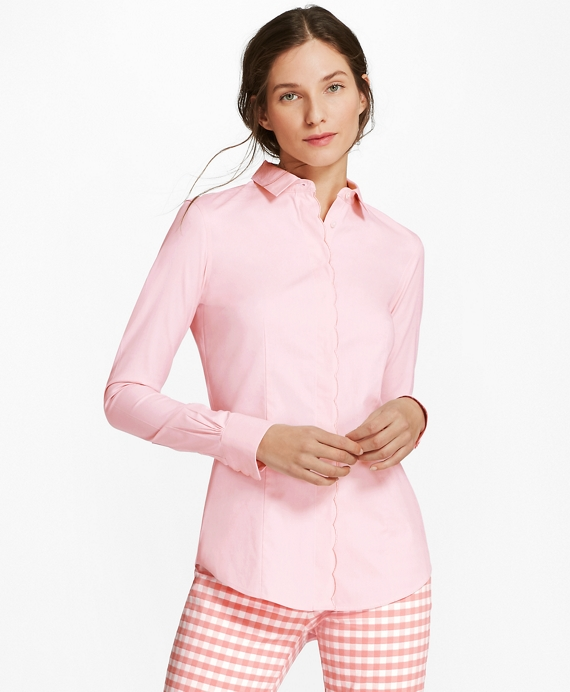 Non-Iron Tailored-Fit Scalloped Stretch-Cotton Shirt Pink