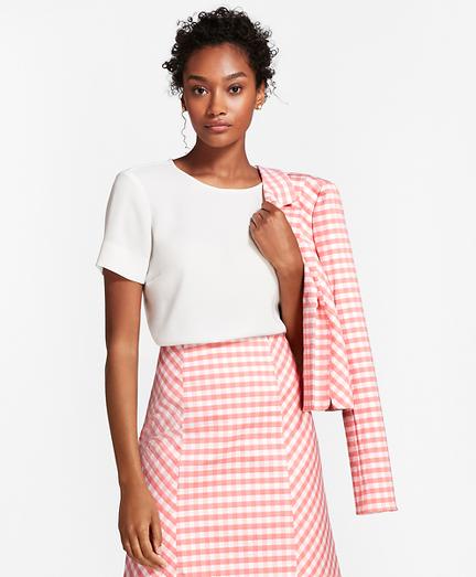 Crepe Short-Sleeve Blouse