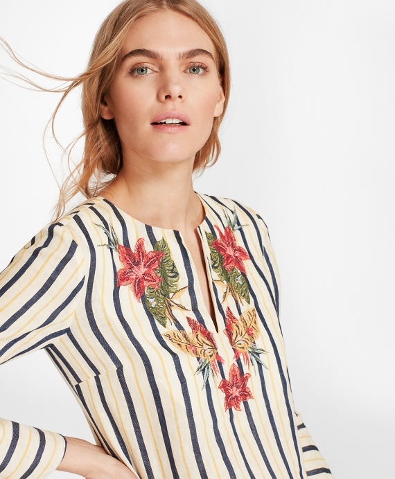 Floral-Embroidered Striped Linen Tunic
