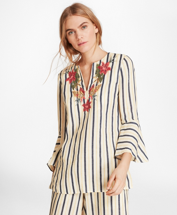 b929dae523 Floral-Embroidered Striped Linen Tunic - Brooks Brothers