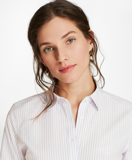 Non-Iron Striped Cotton Dobby Fitted Shirt