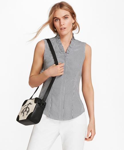 Non-Iron Dot-Print Supima® Cotton Ruffle-Collar Blouse