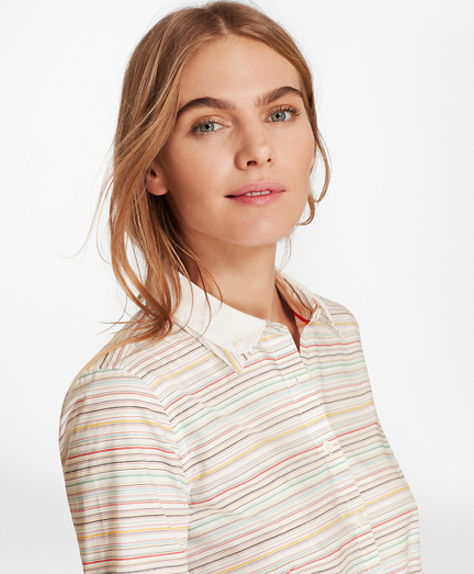 Striped Dobby Cotton Double-Collar Fitted Shirt