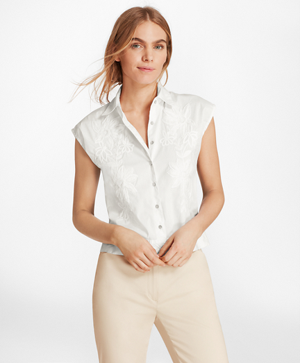 Floral-Embroidered Stretch-Cotton Cropped Shirt