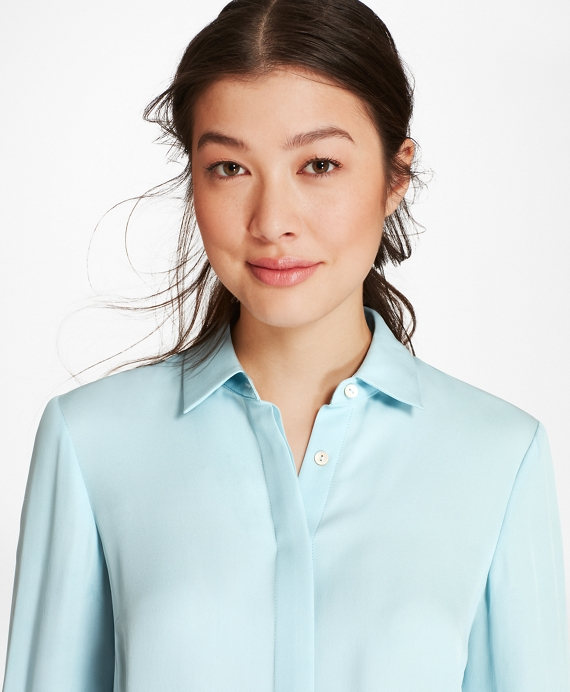 Silk Georgette French Cuff Shirt Light Blue