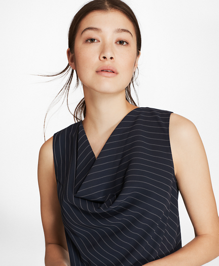 Pinstripe Cowl-Neck Top