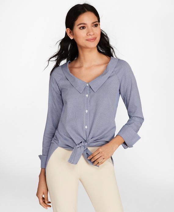 Portrait Collar Mini-Houndstooth Dobby Cotton Shirt Blue