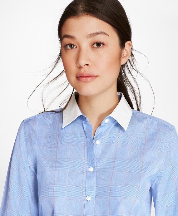 Non-Iron Glen Plaid Stretch Cotton Poplin Fitted Shirt Blue
