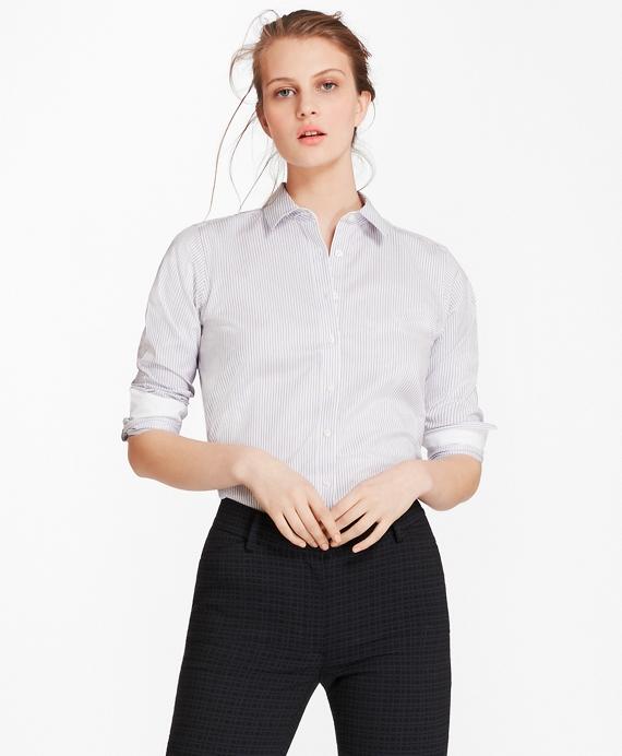 Non-Iron Striped Cotton Twill Shirt Blue