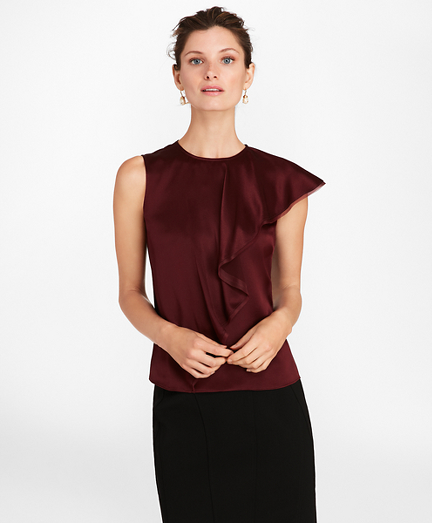 Draped Silk Satin Blouse