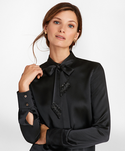 Beaded Bow-Neck Silk-Satin Blouse
