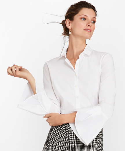 Tailored-Fit Stretch Cotton Bell-Sleeve Shirt